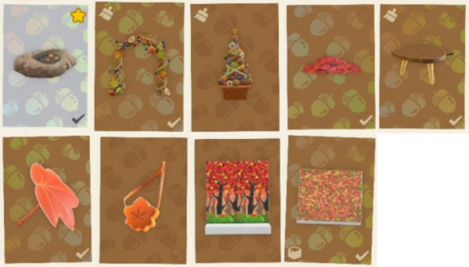 """Das Bild zeigt alle Herbstblätter-DIY, die im Herbst in """"Animal Crossing: New Horizons"""" erhältlich sind."""