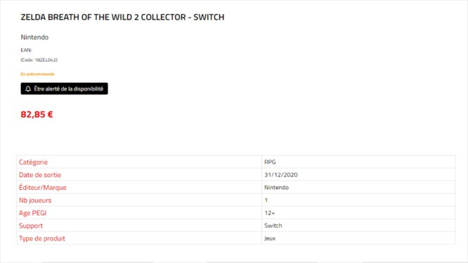 Das ist der Listeneintrag zu Zelda: BOTW 2