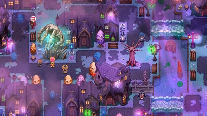 """Das Bild zeigt eine Stadt in dem Spiel  """"Nexomon: Extinction""""."""