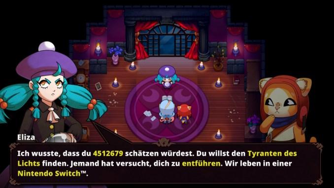 """Das Bild zeigt eine witzige Szene aus dem Spiel """"Nexomon: Extinction""""."""