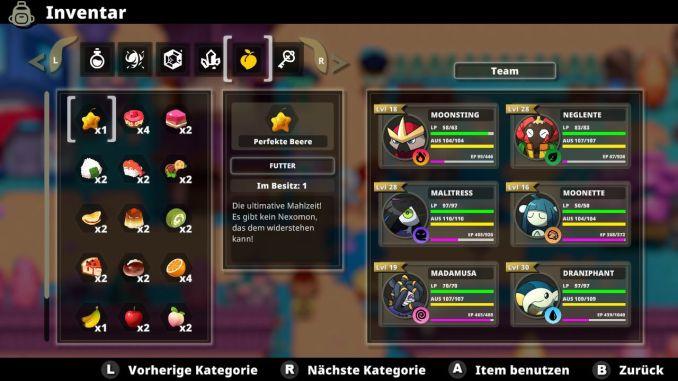 """Das Bild zeigt das Inventar des Spieles """"Nexomon: Extinction""""."""