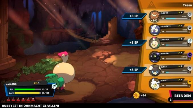 """Das Bild zeigt das Ende eines Kampfes mit mehreren Teilnehmern in """"Nexomon: Extinction""""."""