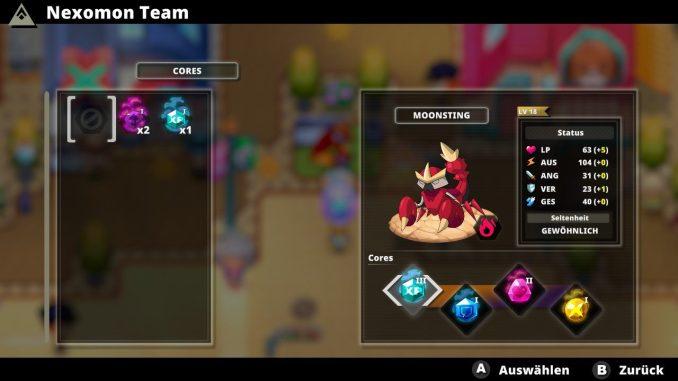 """Das Bild zeigt die ausgerüsteten Kerne eines meiner Nexomon im Spiel """"Nexomon: Extinktion""""."""