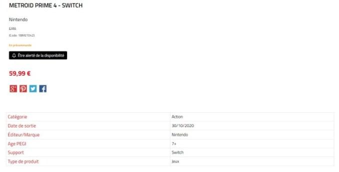 Das Bild zeigt den Listeneintrag zu Metroid Prime 4