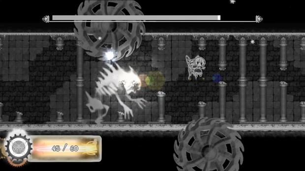 """Das Bild zeigt eine Szene aus dem Spiel """"Nevaeh"""". Man sieht ein albtraumhaftes Monster."""