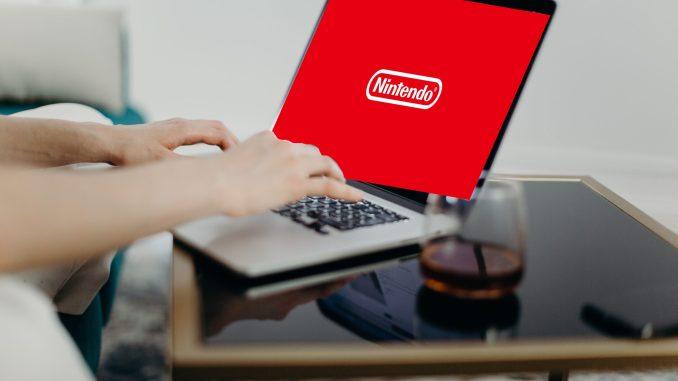 Das Bild zeigt jemanden, der sich bei Nintendo einloggt