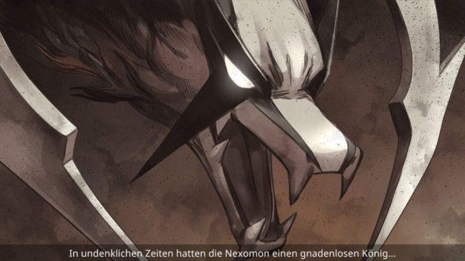 """Das Bild zeigt Omnicore, einen Charakter aus dem Spiel """"Nexomon: Extinction"""". Es handelt sich um den gnadelosen König der Nexomon."""