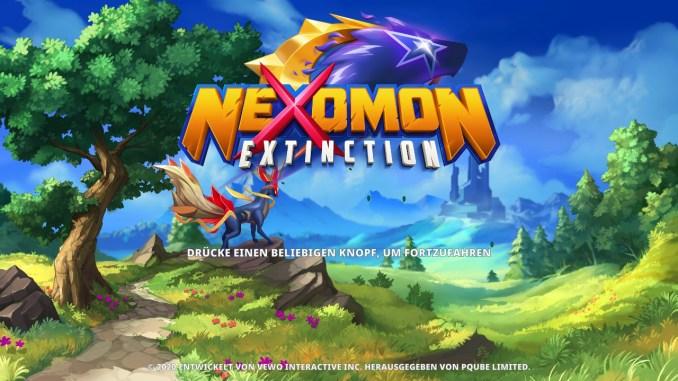 """Das Bild zeigt den Titelscreen von """"Nexomon: Extinction""""."""