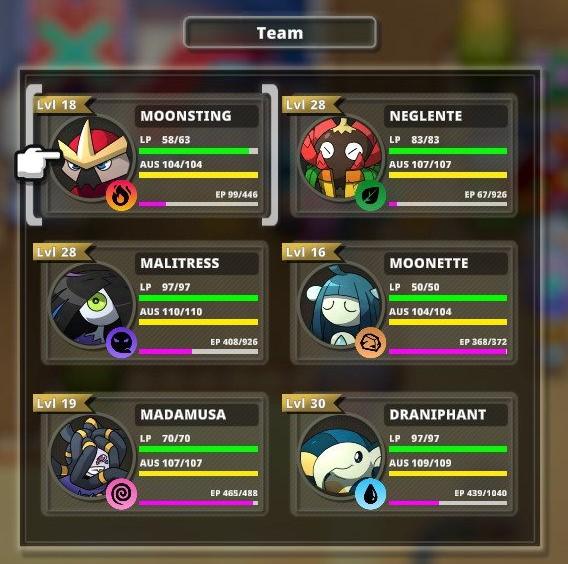 """Das Bild zeigt einen Ausschnitt meines aktuellen Teams in dem Spiel """"Nexomon: Extinction""""."""