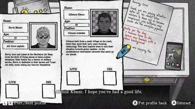 """Das Bild zeigt eine Szene aus dem Spiel """"Death and Taxes"""". Gerade wird eine Entscheidung über Leben und Tod getroffen."""