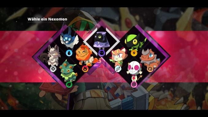 """Das Bild zeigt alle neun Starter des Spieles """"Nexomon: Extinction""""."""