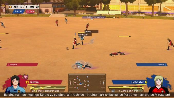 Dieses Bild zeigt wie 2 Spieler am Boden liegen. Kein seltener Anblick in Captain Tsubasa.