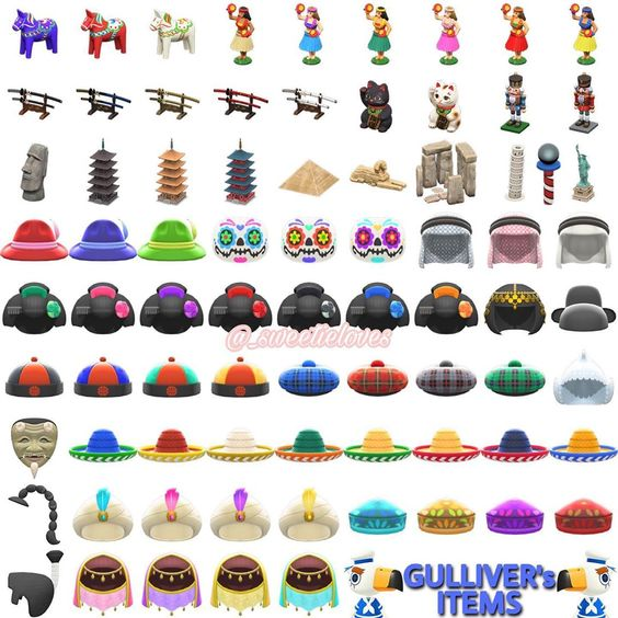 """Das Bild zeigt die Items, die man von Gulliver in """"Animal Crossing: New Horizons"""" bekommen kann."""