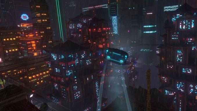 """Das Bild zeigt eine Szene aus dem Spiel """"Cloudpunk""""."""