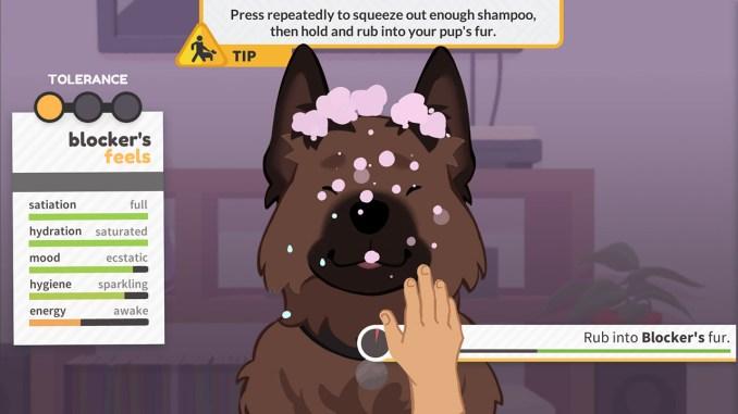 """Das Bild zeigt eine Szene aus dem Spiel """"Best Friends Forever"""". Man sieht einen Hund, welcher gerade gewaschen wird."""