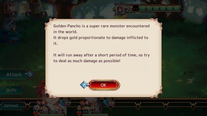 Das Bild zeigt die Beschreibung von goldenen Monstern.