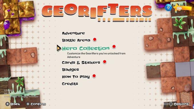"""Das Bild zeigt den Reiter Hero Collection im Menü von """"Georifters""""."""