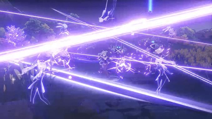 """Das Bild zeigt Keqing im Kampf. Sie ist ein Charakter aus dem Spiel """"Genshin Impact""""."""