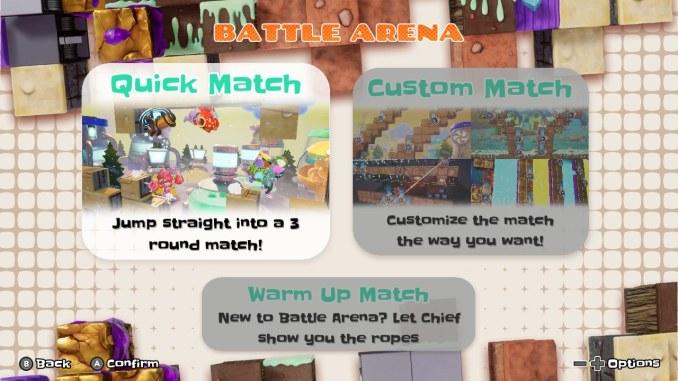 """Das Bild zeigt die verschiedenen Modi im Mehrspielermodus Battle Arena von """"Georifters""""."""