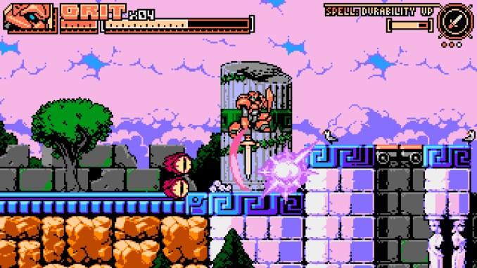 """Das Bild zeigt eine Jump'n'Run-Passage aus dem Spiel """"Panzer Paladin""""."""