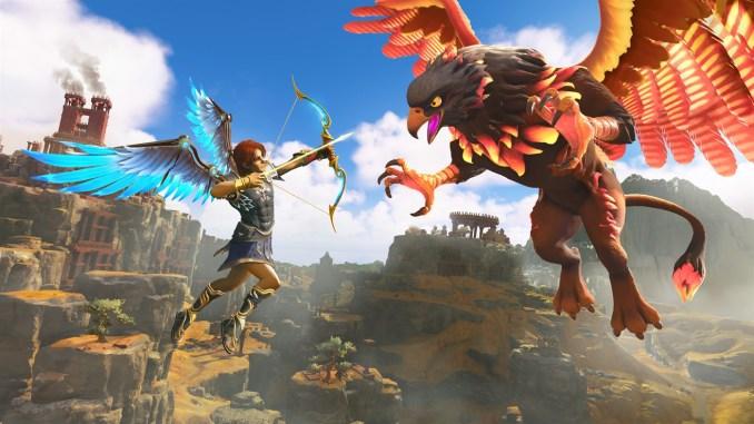 """Das Bild zeigt eine Kampfaufnahme aus """"Immortals Fenyx Rising""""."""