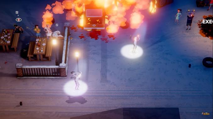 """Das Bild zeigt tanzende Charaktere vor einer Explosion in """"Party Hard 2""""."""