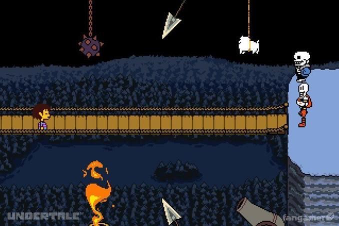 Dieses Bild zeigt Sans vor einer Brücke in Undertale