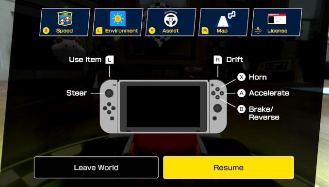 """Das Bild zeigt das Bedienungsmenü in """"Mario Kart Live: Home Circuit""""."""