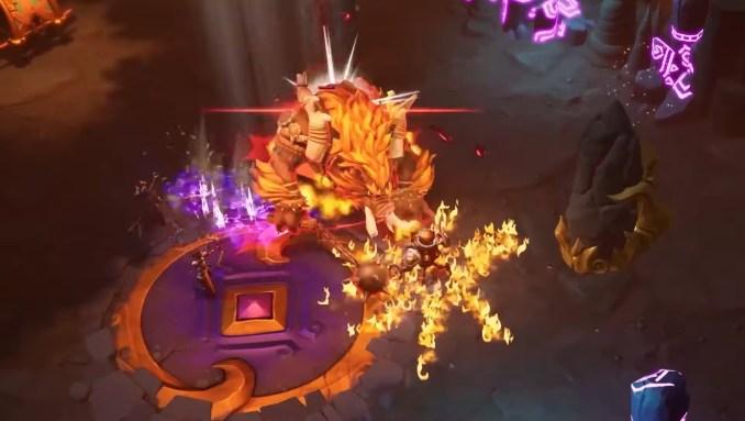"""Das Bild zeigt einen Kampf gegen ein großes Monster in """"Torchlight III""""."""