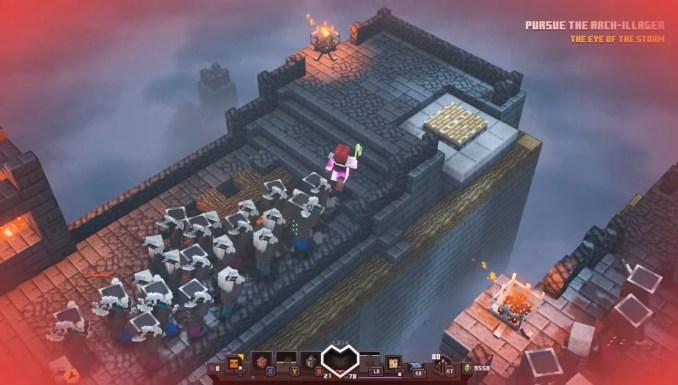 """Das Bild zeigt eine Szene aus """"Minecraft Dungeons"""" mit neuem Apokalypse Plus-Schwierigkeitsgrad."""