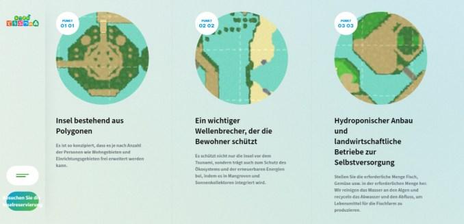 Das Bild zeigt die verschiedenen Spezifikationen von Treasure Island.