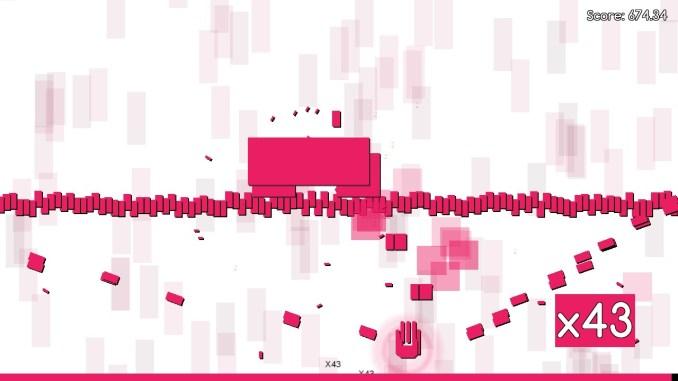 """Das Bild zeigt eine Szene aus dem Spiel """"Bullet Beat"""". Man erkennt lauter rote Rechtecke."""
