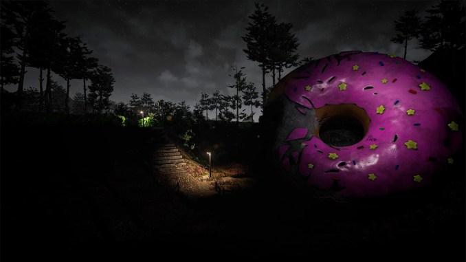 """Das Bild zeigt einen riesigen, dunklen Dount in dem Spiel """"CASE 2: Animatronics Survival""""."""