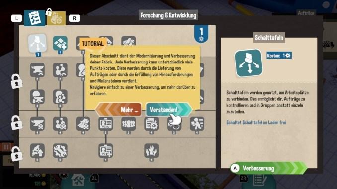 """Das Bild zeigt den Fähigkeitenbaum aus dem Spiel """"Little Big Workshop""""."""