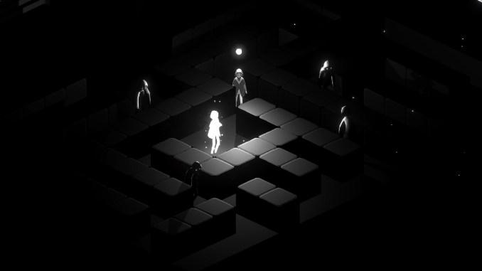 """Das Bild zeigt die Protagonistin des Spieles """"Fracter"""", welche inmitten von lauter dunklen Gestalten steht. Sie selbst besteht aus purem Licht."""