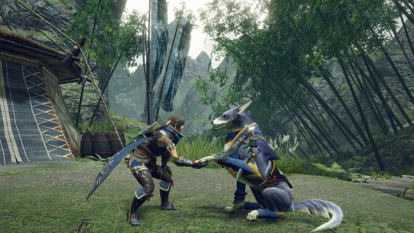 """Das Bild zeigt einen Ausschnitt aus der """"Monster Hunter Rise Demo""""."""