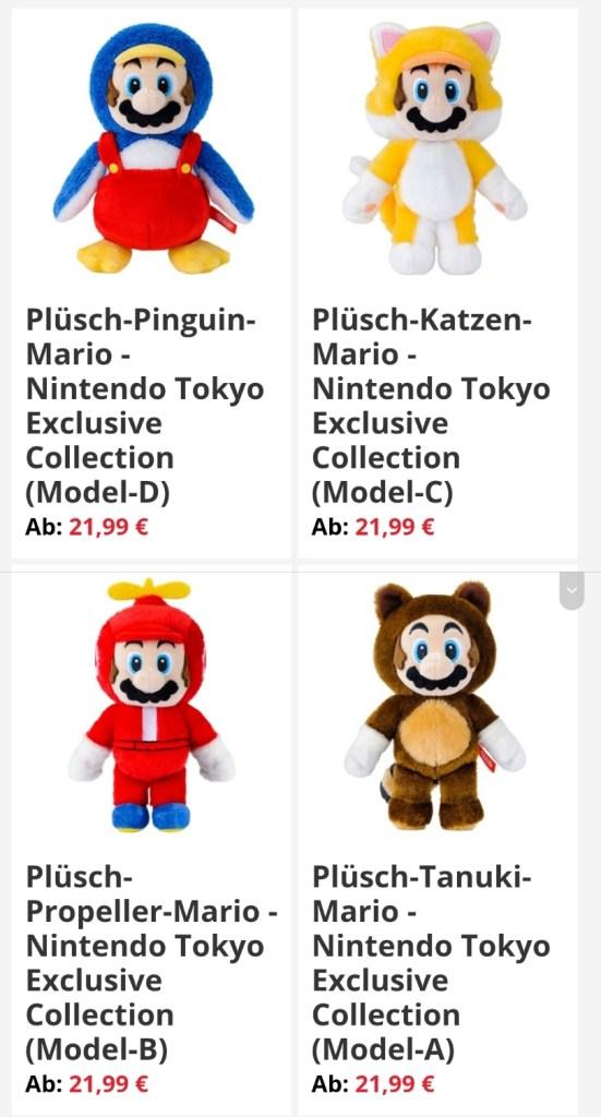 Das Bild zeigt die Plüschfiguren, Teil des Super Mario-Merchandise.
