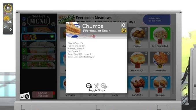 """Das Bild zeigt statistische Informationen zu dem Spiel """"Cook, Serve, Delicious! 3?!""""."""