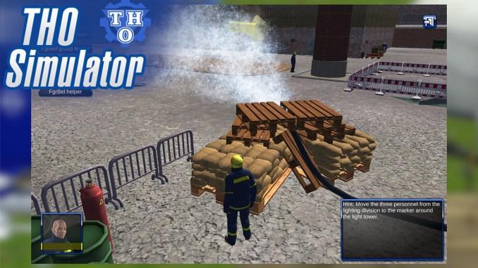 """Das Bild zeigt eine Szene aus dem Spiel """"THO Simulator"""". Man erkennt die Unterstützung bei einem Brandeinsatz."""
