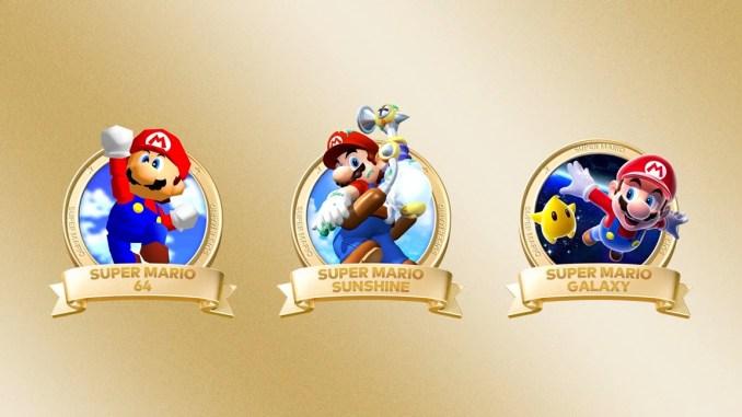 """Das Bild zeigt die drei Spiele, welche Teil der Spielesammlung """"Super Mario 3D All-Stars"""" sind."""