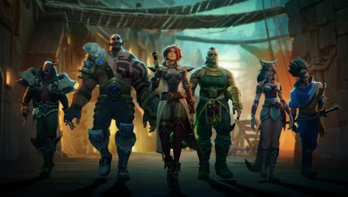 """Das Bild zeigt die mitwirkenden """"League of Legends""""-Champions in """"Ruined King""""."""
