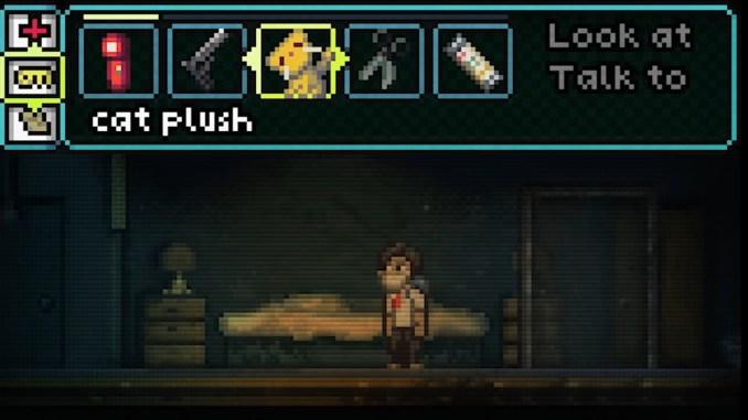 """Das Bild zeigt die Interaktionsmöglichkeiten mit Gegenständen in """"Super Lone Survivor""""."""