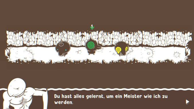 """Das Bild zeigt zwei betäubte Gegner. Der Gelbe weint ein klein wenig, der Blaue hat ganz kleine Augen. Es handelt sich um eine Szene aus dem Spiel """"Ponpu""""."""