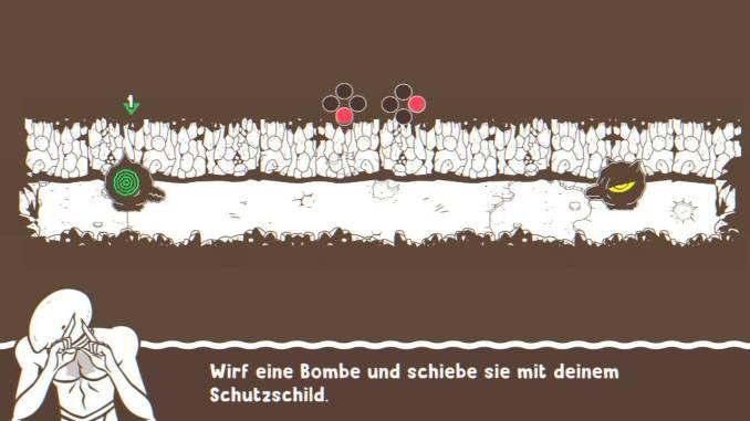 """Das Bild zeigt das Tutorial, in welchem man lernt, wie man in """"Ponpu"""" Bomben schießt."""