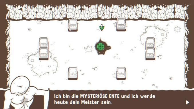 """Das Bild zeigt die Mysteriöse Ente in dem Spiel """"Ponpu""""."""