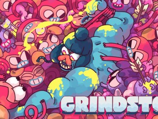 """Das Bild zeigt das Titelbild und das Logo von """"Grindstone""""."""
