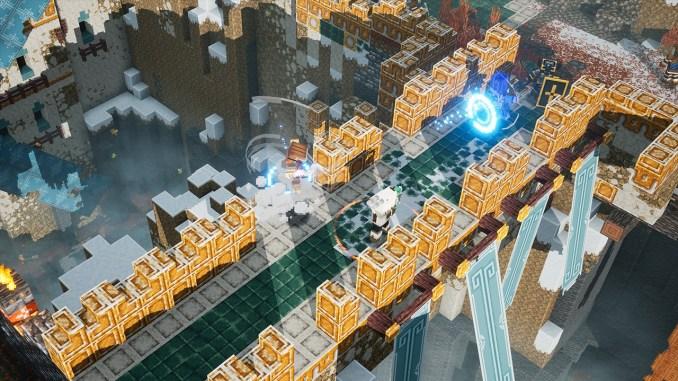 """Das Bild zeigt eine Szene aus dem Howling Peaks-DLC in """"Minecraft Dungeons""""."""