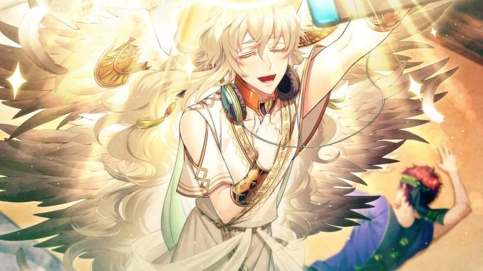 """Das Bild zeigt eine Szene aus dem Spiel """"Café Enchanté"""". Man erkennt einen Charakter, welcher wie ein Engel aussieht, mit wallendem, blonden Haar."""
