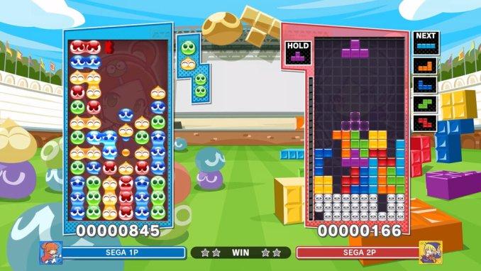 Das Bild zeigt ein zwei Spieler Spiel Puyo Puyo gegen Tetris aus Puyo Puyo Tetris 2