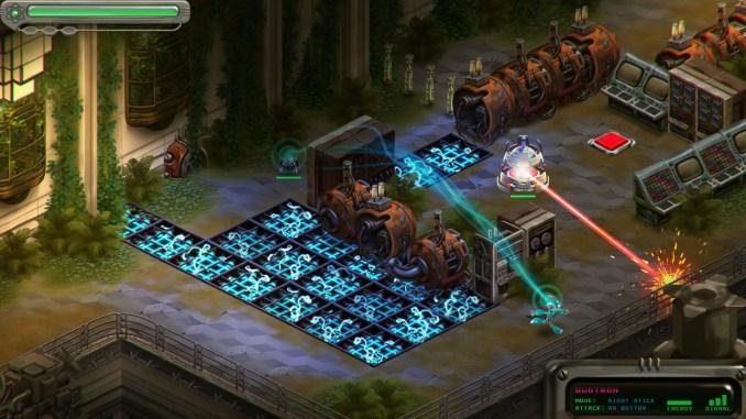 Das Bild zeigt, wie der spielbare Charakter aus Retro Machina, eine Robotereinheit kontrolliert um das Rätsel zu lösen